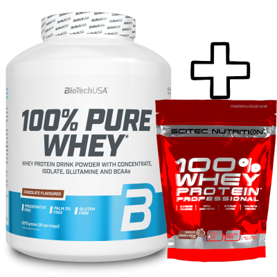 BioTech USA 100% Pure Whey 2270g + Scitec Nutrition 100% Whey Protein Professional 500g